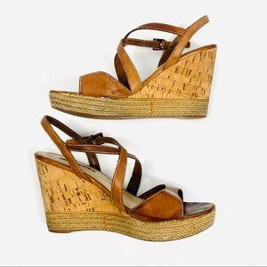 PRADA Leather Espadrilles Sandals Brown
